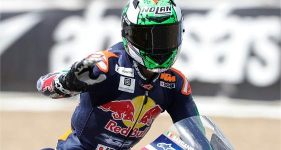Bastianini wins last lap scrap with Hanika and Manzi to take victory in Rookies race 2 at Jerez