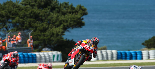 Front row in Australia for Marc Marquez, with Dani Pedrosa fifth