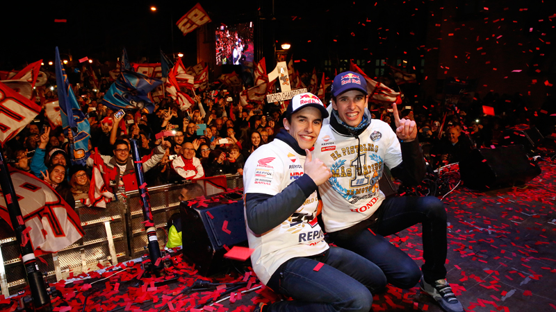 Fans celebrate with Marc Marquez & Alex Marquez in Cervera homecoming party