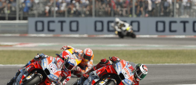 Jorge Lorenzo crashes out from second place two laps from the end.