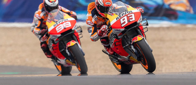 Marc Marquez secures third on the grid as Jorge Lorenzo falls